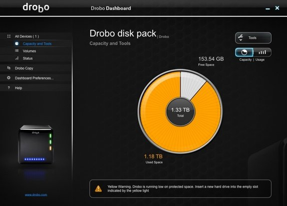 Drobo Dashboard Full Pie