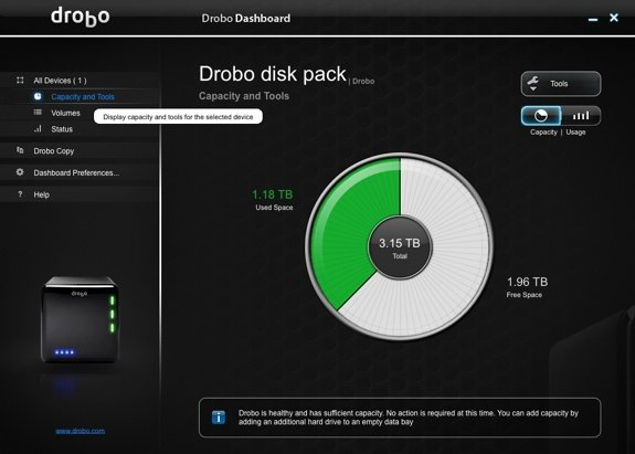 Drobo Dashboard New Drive Pie Chart