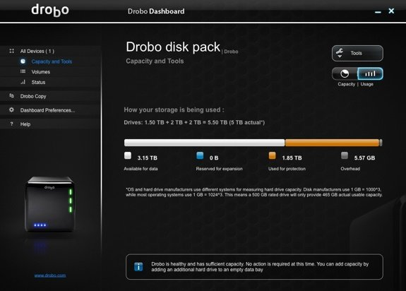 Drobo Dashboard New Drive Line