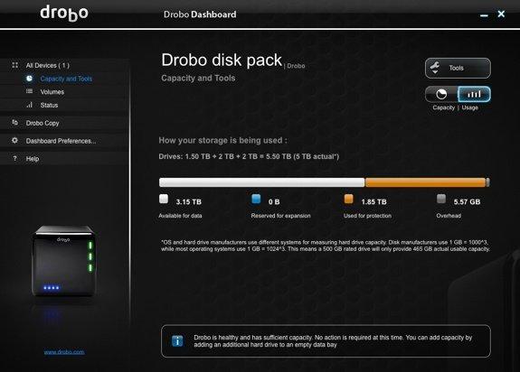 Drobo Dashboard New Drive Line