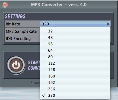 MP3Converter bit rate selection
