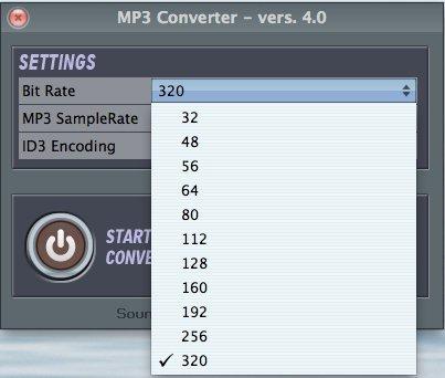 MP3Converter bit rate selection