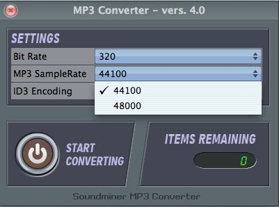 MP3Converter sample rate selection
