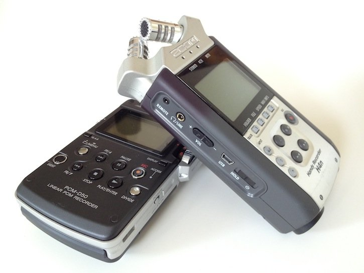 H4n and Sony Audio Recorders Pair