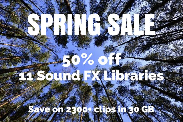 48-Hour Spring Sale: 50% off 11 Sound FX Libraries